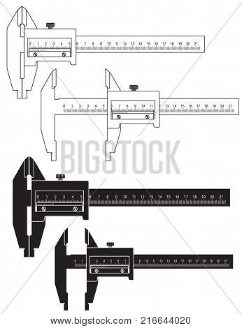 Caliper. Black and white drawing. Vector illustration isolated on white background