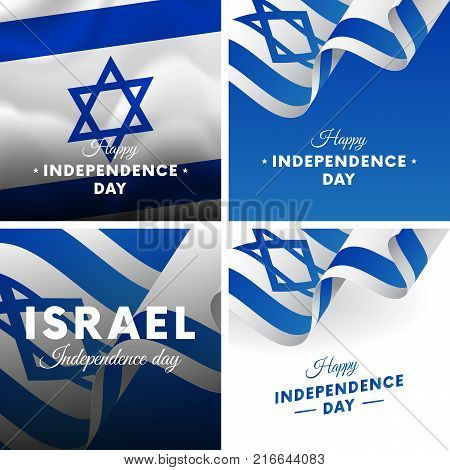 Banner or poster of Israel independence day celebration. Super set. Waving flag. Vector illustration.