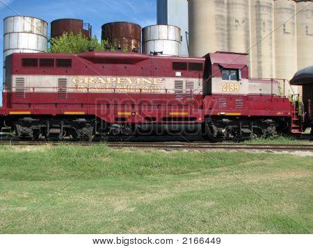 Vintage Railroad Train Engine, Grain Elevators & Tanks