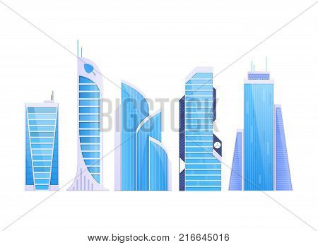 Cityscape, urban landscape. Set various city buildings, high-rise buildings, skyscrapers, popular business centers. Real estate urban architecture. Eco friendly, smart city. Vector flat illustration.