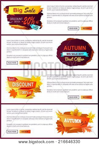 Big autumn sale new offer discounts only today best choice price off 2017 set of vector posters with text online web pages with color fall labels
