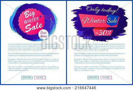 Only today winter sale - 30 off promo web posters on blue brush strokes vector hanging tag label on landing page. Advertisement xmas label design