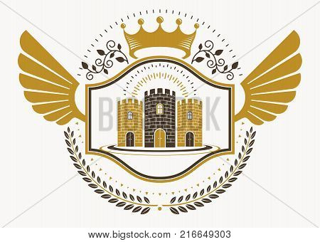 Vintage decorative heraldic vector emblem composed with eagle wings medieval stronghold and imperial crown