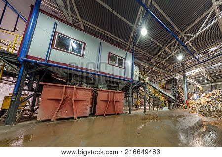 GRODNO BELARUS - OCTOBER 16 2017: Modern waste recycling processing plant. Separate garbage collection. Recycling and storage of waste for further disposal.