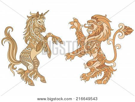 Heraldic unicorn and lion silhouettes in gold colors. Heraldry logo design elements. Luxury coat of arms concept.