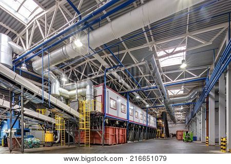 Grodno, Belarus - October 16, 2017:  Modern Waste Recycling Processing Plant. Separate Garbage Colle