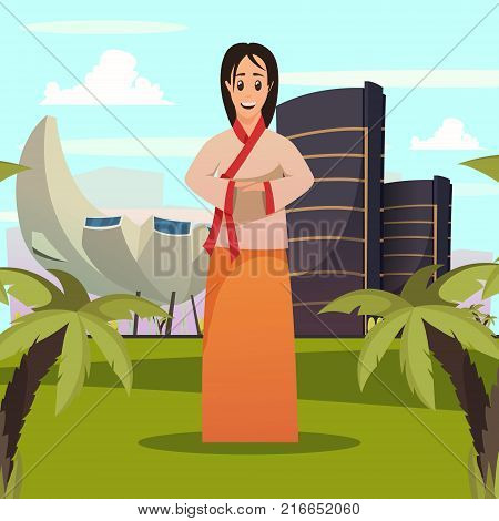 Singapore tourist attractions orthogonal poster with welcoming woman in national clothing and sightseeing landmarks background vector illustration poster