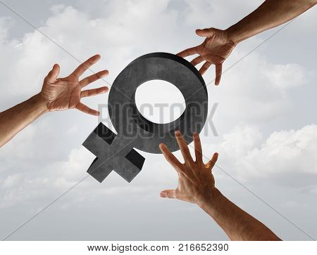 Female sexual harassment and workplace sex assault concept as a woman symbol with the threat of grabbing hands as a social issue metaphor in a 3D illustration elements.