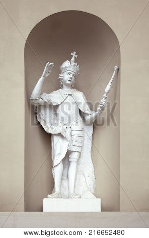 Niche sculpture on St. Stanislaus and St Ladislaus cathedral in Vilnius, Lithuania