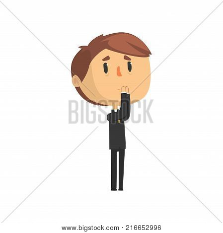 Young priest character praying, catholic preacher, holy father cartoon vector illustration isolated on a white background