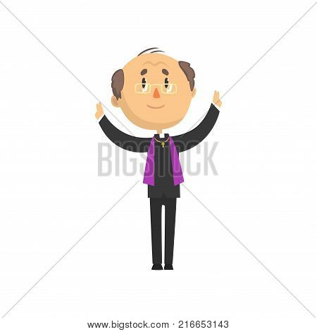Mature catholic priest character preaching at church, catholic preacher, holy father cartoon vector illustration isolated on a white background
