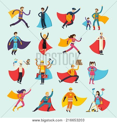 Superheroes orthogonal flat people set including businessman, housewife, chef, doctor and fireman in cloak isolated vector illustration