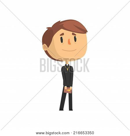 Priest character standing with bible, catholic preacher, holy father cartoon vector illustration isolated on a white background