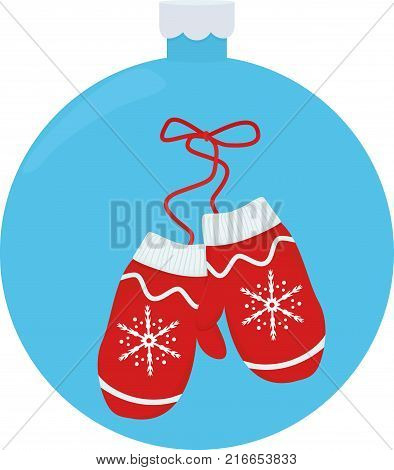 Vector illustration pair of knitted christmas mittens on blue christmas-tree ball background. Christmas greeting card with mittens