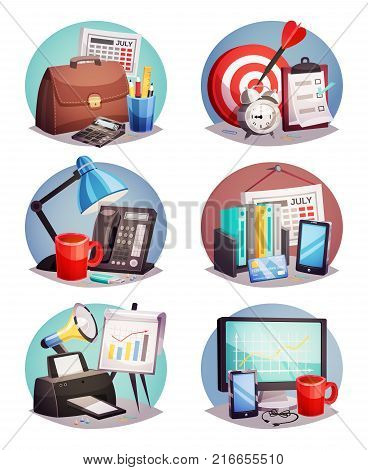 Business attributes symbols 6 round colorful icons set with laptop growth diagram and office supply isolated vector illustration