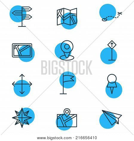 Vector Illustration Of 12 Navigation Outline Icons. Editable Set Of Orientation, Marker, Pennant And Other Elements.