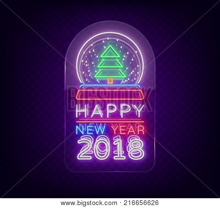 Happy new year 2018 is a neon sign. Neon symbol for your New Year's projects, greetings cards, flyers, banners. Bright festive signboard. Vector illustration. Neon sign on transparent glass.
