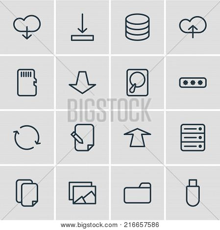 Vector Illustration Of 16 Memory Outline Icons. Editable Set Of Downward, Synchronize, Dossier And Other Elements.