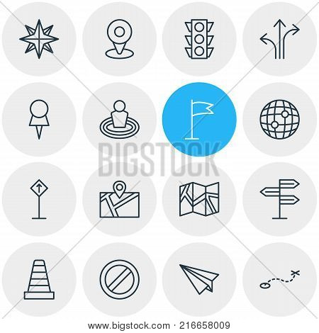 Vector Illustration Of 16 Direction Outline Icons. Editable Set Of Orientation, Stoplight, Marker And Other Elements.