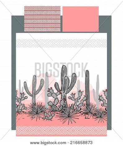 Bedding vector with mexican cactuses and mountains landscape. Pillow and duvet patterns are seamless and could be used as textile print. Vector linen templates. Elegant pink and grey palette