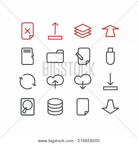 Vector Illustration Of 16 Archive Outline Icons. Editable Set Of Downward, Arrow Up, Dossier And Other Elements.
