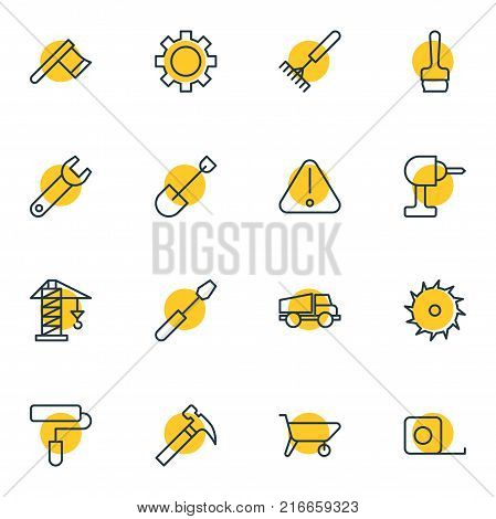 Vector Illustration Of 16 Industry Outline Icons. Editable Set Of Paintbrush, Electric Screwdriver, Road Sign And Other Elements.
