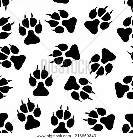Paw seamless pattern. Background with an animals footprint - cat, dog, and others. Vector illustration.