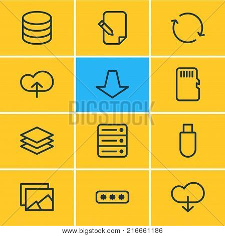 Vector Illustration Of 12 Storage Outline Icons. Editable Set Of Flash Drive, Downward, Database And Other Elements.