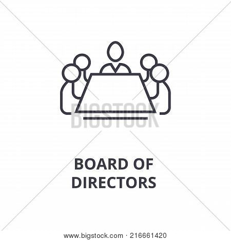 board of directors line icon, outline sign, linear symbol, flat vector illustration