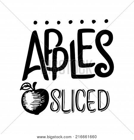Apple sketch. Vector hand drawn vintage fruit. Sketch vector and lettering, vegetarian food illustration. Retro style. Slices, fruits. Isolated background