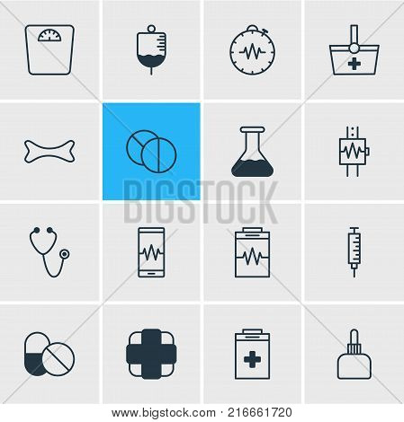 Vector Illustration Of 16 Medical Outline Icons. Editable Set Of Heartbeat, Exigency, Antibody And Other Elements.
