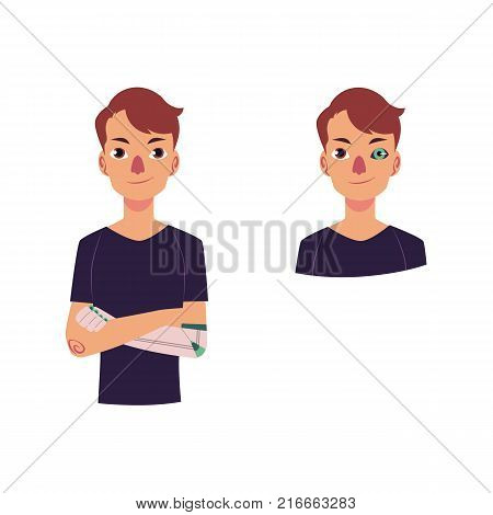 vector cartoon bionic futuristic mechanical prosthesis concept icon set. Young man characters with iron robotic arm and eye. Isolated illustration on a white background.