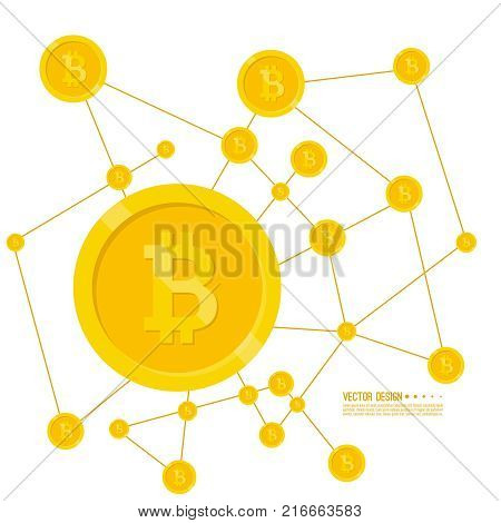 Crypto currency Bitcoin internet virtual money. Vector illustration of  bitcoin digital cryptocurrency. Blockchain based secure.