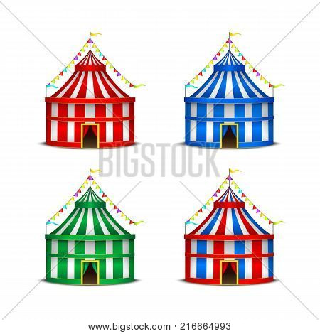Striped Circus Tent Symbol Amusement, Festival or Carnival Set for Invitation Premiere Performance. Vector illustration