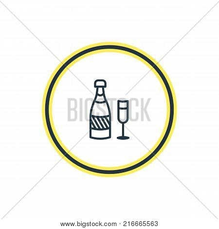 Vector Illustration Of Champagne Outline. Beautiful Banquet Element Also Can Be Used As Fizz Element.