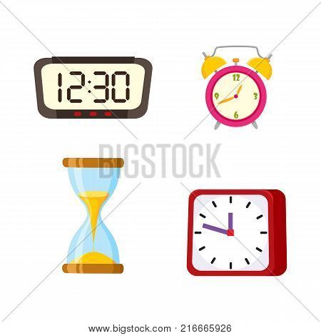 vector flat types of clocks set. Digital rectangle and analog square, circle table alarm clock, vintage hourglass or sandglass icon. Isolated illustration on a white background