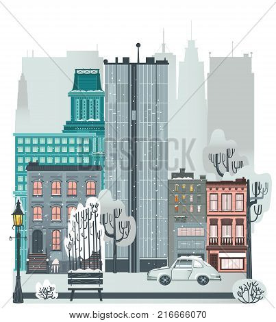 City, urban scene with buildings, car, trees, street lamp and bench in winter, flat vector illustration isolated on white background. Flat city, urban winter scene, skyscrapers, townhouse, street road