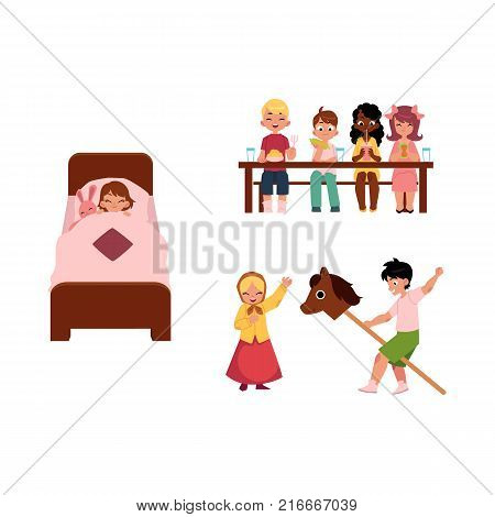 vector summer camp kids set. Caucasian and african Girls and boys eating porridge, fruits vegetables at table playing at stage, sleeping in bad with rabbit toy. Isolated illustration white background