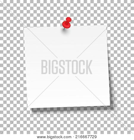 White sheet of note paper with push pin on a transparent background. Vector illustration