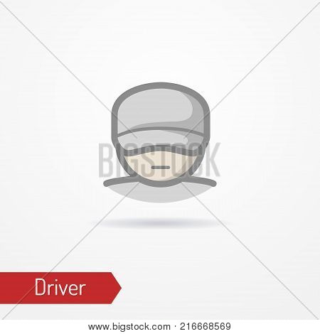 Typical simplistic driver face in baseball cap. Truck driver or delivery guy head isolated icon in flat style with shadow. Profession and people vector stock image.