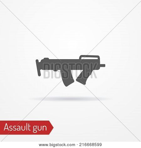 Abstract compact assault submachine gun. Isolated icon in line style with shadow. Typical police or army special forces weapon. Military vector stock image.