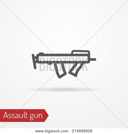 Abstract compact assault firearm. Isolated icon in line style with shadow. Police or army special forces weapon. Military vector stock image.