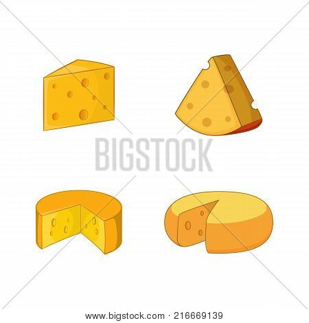 Cheese icon set. Cartoon set of cheese vector icons for your web design isolated on white background