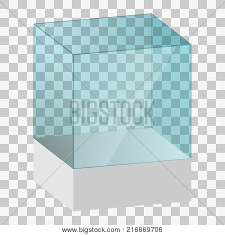 Empty glass showcase, display box on transparent background vector illustration. Empty Transparent Glass Box Cube Vector. For Exhibition And Presentation. In Form Of Cube.
