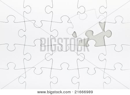 Blank jigsaw puzzle final piece coming in place. Business metaphor insert your own image poster