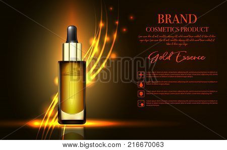 Realistic 3d cosmetic design template. Aroma oil ads template, essence bottle with glitter elements on the background, 3d illustration. Realistic Essential Cosmetic Oil Bottle. Cosmetic vial, flask
