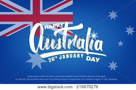 Australia Day. Banner for Australia Day 26th January. Australia lettering and National flag.