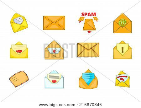 Mail icon set. Cartoon set of mail vector icons for your web design isolated on white background
