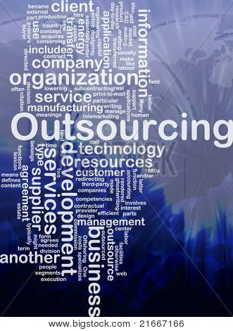 Word cloud concept illustration of business outsourcing international poster