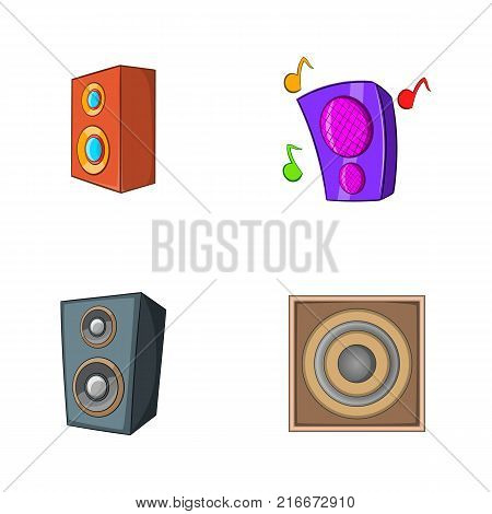 Speaker icon set. Cartoon set of speaker vector icons for your web design isolated on white background